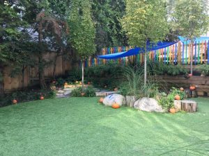 picture of an outside playground, with pumpkins scattered acroos.
