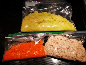 Ingredients for the dumplings are stored in 3 different ziplock bags.